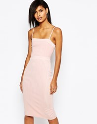 Asos Strappy Bandage Midi Pencil Dress Nude Pink