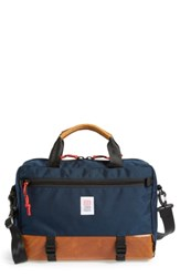 Topo Designs 'Commuter' Briefcase Blue Navy Brown Leather