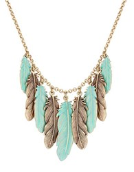 Lucky Brand Sun Kissed Moments Semi Precious Rock Crystal Dual Tone Patina Feather Collar Necklace Goldtone