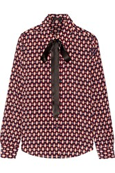 Marc Jacobs Pussy Bow Printed Silk Crepe De Chine Shirt Red