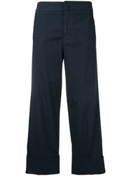 Pt01 Tailored Cropped Trousers Women Cotton Spandex Elastane 44 Blue