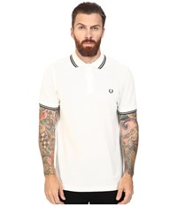 Fred Perry Slim Fit Twin Tipped Polo Snow White Racing Green Men's Short Sleeve Knit