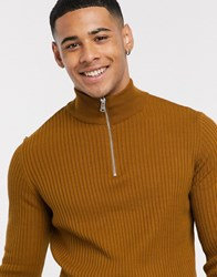 New Look Muscle Fit Half Zip Neck Jumper In Camel White