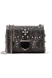 Jimmy Choo Lockett Petite Studded Textured Leather Shoulder Bag Black