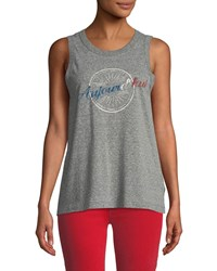 Current Elliott Easy Aujourd'hui Destroy Jersey Muscle Tank Gray Pattern