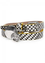 Mens Jewellery Alexander Mcqueen Checked Skull Leather Wrap Bracelet White And Other
