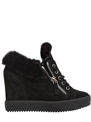 Giuseppe Zanotti 90Mm Shearling And Suede Sneakers