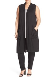 Plus Size Women's Eileen Fisher Stand Collar Jersey Long Vest Black