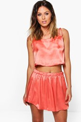 Boohoo Satin Spaghetti Strap Cami And Short Pj Set Coral
