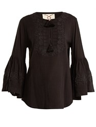 Figue Liza Embroidered Cotton Shirt Black