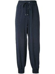 Theory Tapered Drawstring Trousers Women Silk 4 Blue