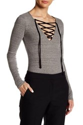 Harlowe And Graham Ribbed Lace Up Bodysuit Gray