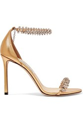 Jimmy Choo Shilo 100 Crystal Embellished Metallic Leather Sandals Gold