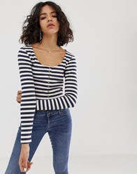 Native Youth Long Sleeve Top With Button Front In Stripe Rib Navy