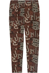Maiyet Silk Crepe Batik Straight Leg Pants Red