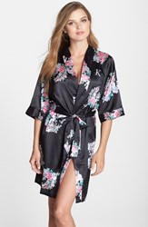 Cathy's Concepts Women's Monogram Floral Satin Robe Black
