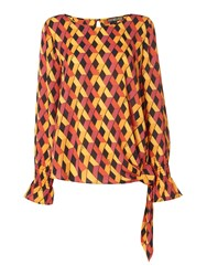 Biba Knot Waist Printed Long Sleeve Blouse Multi Coloured Multi Coloured