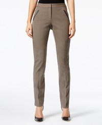 Alfani Faux Leather Trim Slim Leg Pants Only At Macy's Polished Clay