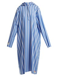 Vetements Oversized Striped Hooded Dress Blue White