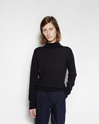Margaret Howell Buttoned Roll Neck Sweater Navy