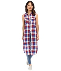 Blank Nyc Sleeveless Plaid Shirt With Slits Red Blue Combo Women's Sleeveless