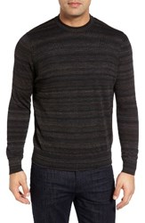 Thomas Dean Men's Stripe Merino Wool Sweater Heather Brown