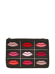 Lulu Guinness Embroidered Lips Coin Purse Black