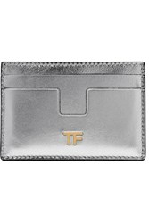Tom Ford Metallic Leather Cardholder Silver