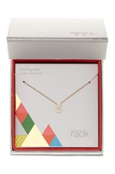 Nordstrom Rack Gold Plated Sterling Silver Pave Cz 'G' Initial Pendant Necklace Metallic