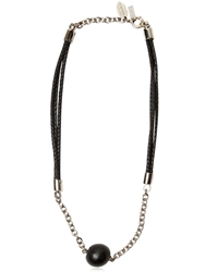 Tom Rebl Ball Pendent Woven Leather Necklace Black