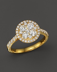 Bloomingdale's Diamond Cluster Statement Ring In 14K Yellow Gold .50 Ct. T.W. White Gold