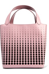 Alaia Laser Cut Leather Tote Pink