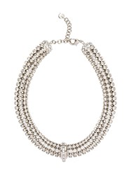 Miu Miu Crystal Embellished Necklace Silver