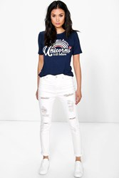 Boohoo High Rise Heavy Ripped Jeans White