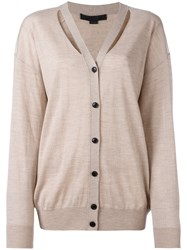 Alexander Wang Cut Out Detail Knitted Cardigan Nude Neutrals