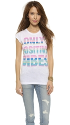 Happiness Only Positive Vibes Tee White
