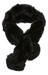 Women's Dena Ruffled Genuine Rex Rabbit Fur Scarf Black