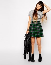 Asos Skater Skirt In Tartan Print Green