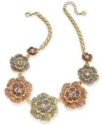 Charter Club Gold Tone Multicolor Crystal Flower Statement Necklace 17 2 Extender Created For Macy's