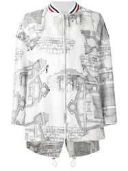 Moncler Gamme Rouge Architecture Print Bomber Jacket Women Silk Cotton Polyester Viscose 1 White
