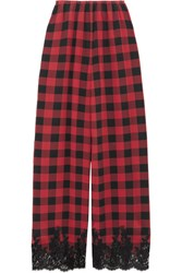 Rosamosario Love Moon In Isle Of Skye Lace Trimmed Checked Silk Pajama Pants Claret