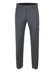 Ben Sherman Men's Grey With Blue Overcheck Camden Trousers Grey