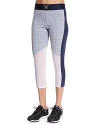 Heroine Sport Racing Paneled Capri Sport Leggings Grey Grid Print