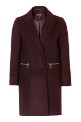Topshop Slim Fit Boyfriend Coat Burgundy