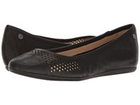 Hush Puppies Liza Heather Black Leather Perf Women's Flat Shoes