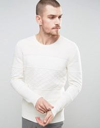 Selected Homme Knitted Sweater With Tonal Pattern In 100 Cotton White