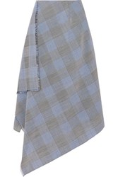 Roland Mouret Asymmetric Checked Wool And Mohair Blend Skirt Navy