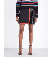 Versace Leather Trim Cotton Blend Mini Skirt Nero Russo