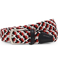 Andersons Woven Stretch Belt Red Navy Wht