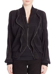 Superfine Pleated Bomber Jacket Black